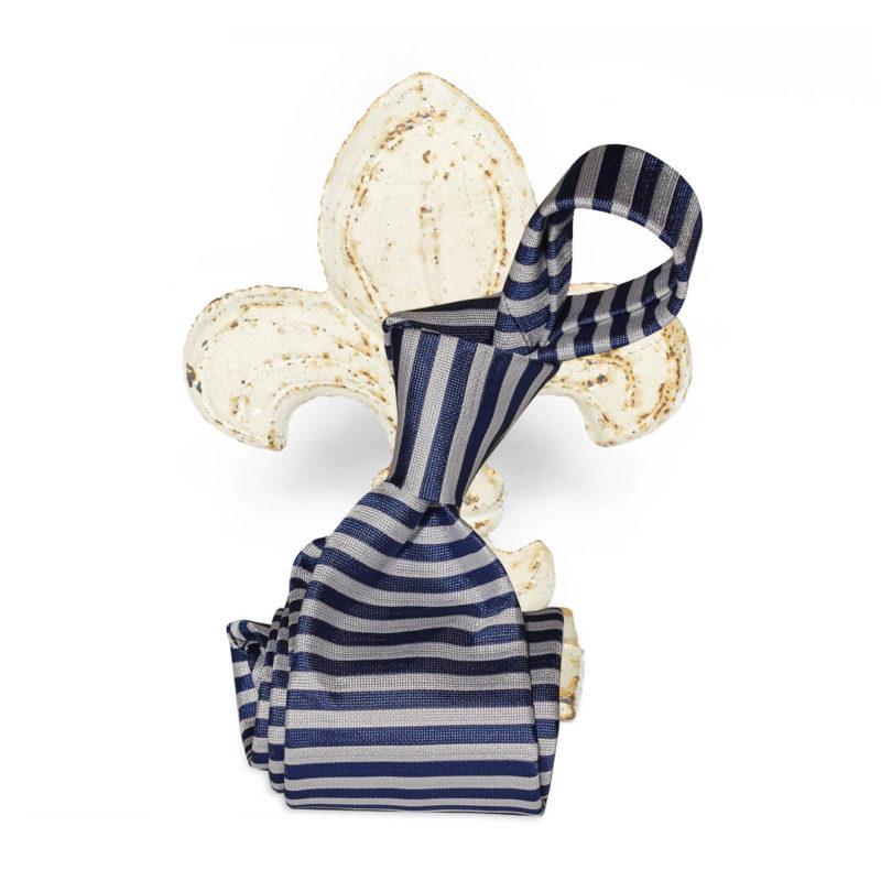 Cravatta righe orizzontali bianca e azzurra