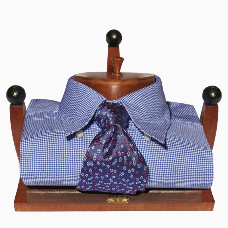 Camicia piccolo pied de poule azzurro button down coperto