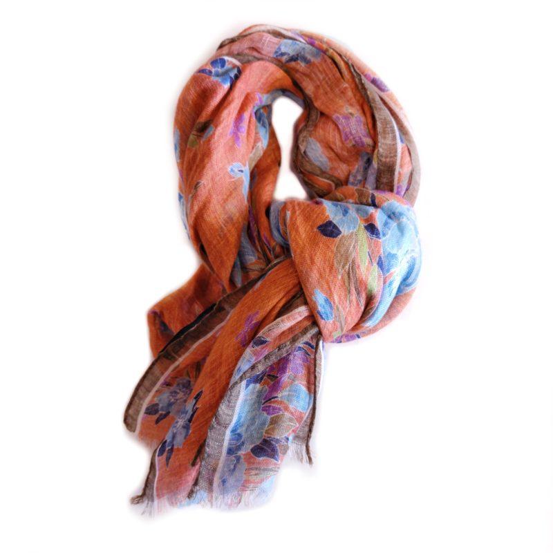 Sciarpa lino arancio