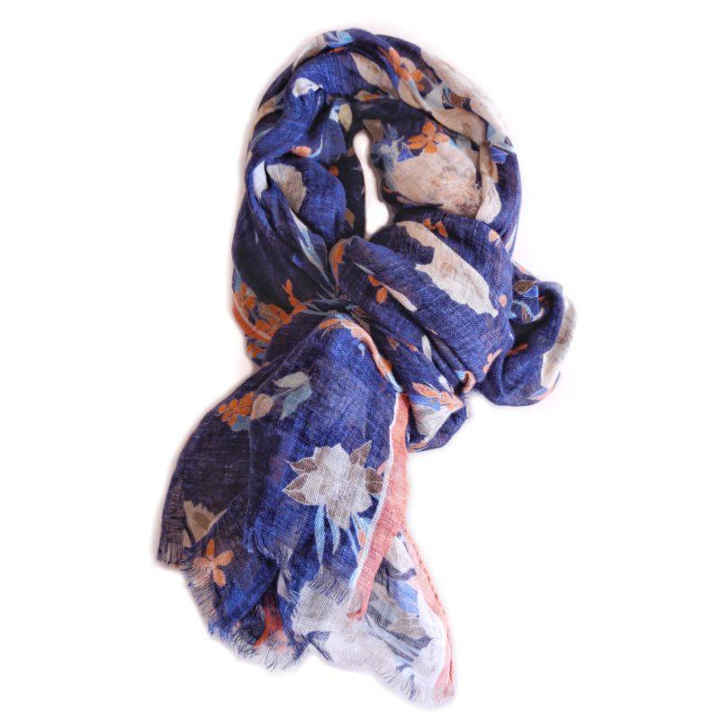 Sciarpa in lino blu